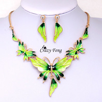 Free shipping Women's 18k Yellow Gold Filled Austrian Crystal Enamel 4 Color Butterfly Jewelry Sets Chain Necklace Earrings sets