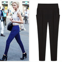Trousers Hot Sale Loose Mid None Pants Women Women's Pants European And American Big Yards Thin Harem Hot Sale New 2014 Spring