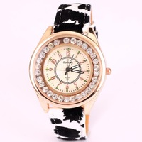 Leopard watch for women fashion brand PU leather band quartz scarf analog wrist watch with diamond dropship