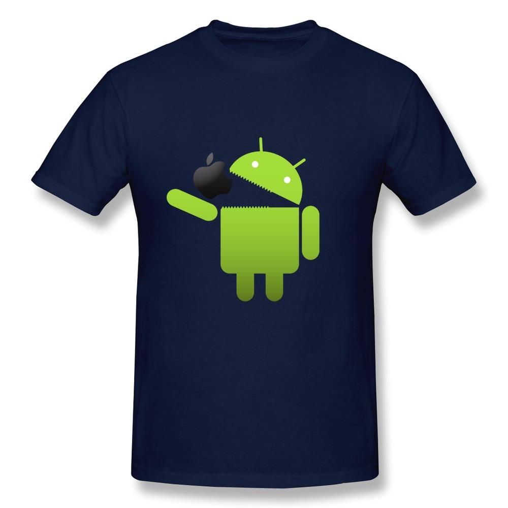 Low Price 100% Cotton Men T Shirt Robot Android eat Black for apple T Shirts Men Regular Style(China (Mainland))
