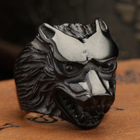 US Size 8-13 Fashion Jewelry Super black Cool Wolf Rings Stainless Steel Punk Biker Man Ring Free Shipping BR7010