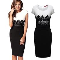 Women Summer Dress 2014 New Arrival Black and White Patchwork Dress Women Autumn Causal Dresses