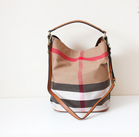 2014 spring British style checks tote bag shoulder bag canvas hobo bag