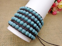 Classical Natural Turquoise Beads On Brown Leather 5X Wrap Bracelet Turquoise Bracelet Unisex