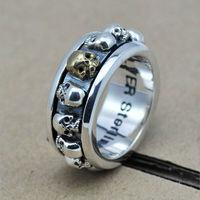 LJR094 2014 new Fashion Man 925 Sterling silver Ring Handmade Man Retro Skull ring Man Jewelry Hot Selling Free Shipping