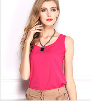Women Slim Fit Chiffon Blouses Top Vest Shirts Trendy Shirt Solid candy Summmer tank Vest Shirts