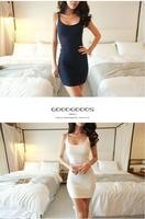 2014 New Fashion Summer Cute Cotton Elastic Dress Women's Fashion Basic Solid MINI Sexy Dress Slim O-Neck