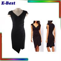 women fashion 2014 sexy irregular bodycon Deep V collar summer dress formal work party eveing dress black vestidos femininas