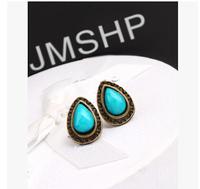 New Hot Selling Blue Alloy Water Drop Shape Vintage Turquoise Women's Stud Earrings R-068