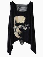 Loose Plus Size Black Cotton Hollow Out Back Skull Skeleton Print T-shirt Vest Top Tees Women High Street American Apparel