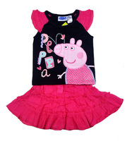 Free shipping 2013 New Peppa Pig girl girls clothing skirt suits kids t shirt top + skirt outfit clothes suit set