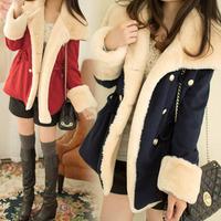 2014 New women Girl wool blend slim double breasted winter Faux fur coat jacket