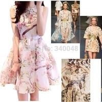 2014 summer women high quality sleeveless vintage floral patterns organza puff dress ladies fashion ball gown flowers tank dress