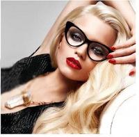 Free Shipping Hot Sale 2013 New Designer Cat Eye Glasses Retro Fashion Black Women Glasses Frame Clear Lens Vintage Eyewear