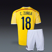 #18 C.ZUNIGA Colombia home Jersey 2014 World Cup Colombia homes soccer Jersey+shorts Free shipping