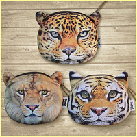 Animal head purse wallet coin bag card bag cosmetic bag key case 13*13cm tiger lion leopard wholesale 12 pcs/lot