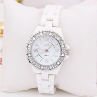 Women Ladies Wholesale Fashion Charm Style Watch Ceramic 2013 Rhinestone Rose Gold Luxury Design For Ladies Free Shipping