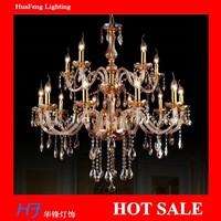 10+5 Lights amber color Crystal chandelier  good quality large hotel chandelier