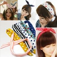 Free Shipping Cute Rabbit Bunny Ear Wire Headband Scarf Hair Band Bow Head Wrap Polkadot Korea