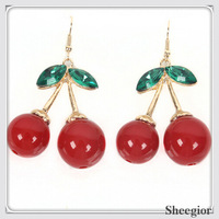 Fashion Cute Dangle Earring Red Fresh Cherry Crystal Earrings Journey Anniversary Jewelry 2014 Gold earrings for women