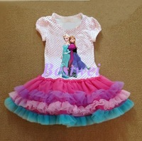 FROZEN Printed Cotton Dress Summer Children Romance Gauze Mesh Cute Girl Princess Dress