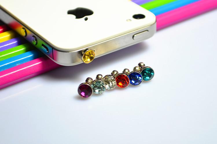 5pcs Universal mobile phone rhinestone diamond dust plug 3.5mm universal headset dust plug earrings(China (Mainland))
