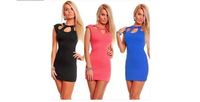 Hot 2014 Summer Clothing Sexy European/ American Dress Hollow Slim Package Hip Nightclub solid sexy women's dress round neck
