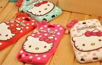 3D Cute Dot Hello Kitty Silicone Case For Samsung Galaxy Note 2 N7100 With Love Bowknot Metal pendant chain 10pcs/lot