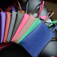 Hot sale New 2014 high quality women messenger bags Genuine Leather Jet Set Travel Zip Ladies Wristlet evening clutch purses