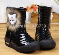 Princess fox fur 2014 children short boots waterproof   boots soft bottom of the girls