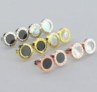 titanium steel Artificial zircon earring,six color option,high quality