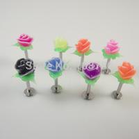 100pcs/lot free shipping black lace rose flower Koosh Design Stainless lip ring labret Piercing Earring  body piercing jewelry