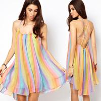 2014 sexy dresses chiffon spaghetti strap back cross cutout sleeveless sexy dresses
