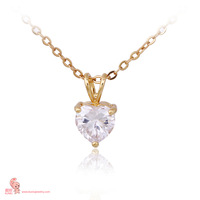 Hot Fashion Gold Plated Crystal Large Azorite Heart Love Prom Party Wedding Necklace Pendant For Gift D0668