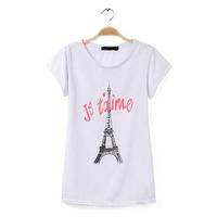2014 slim summer  women's  fashion short-sleeve print letter fashion red eiffel tower basic top female t-shirt NJS168