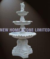 garden stone ornament kid fish sculpture 3 layers natural stone fountain