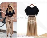 2014 Fashion Women Summer Slim Dress chiffon With short sleeves Dress Pleated Casual Dresses Plus size S-XXL YM Free Shipping