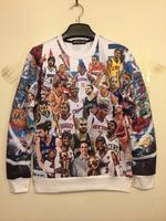 2014 New fashion  women/men high-quality  American basketball star print 3d sweatshirt hip hop sweaters 3d casual pullover