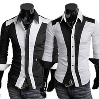 2014 Men Fashion White Black Patchwork Slim Three-dimensional Cutting Long Sleeve Shirt, Casual 2 Colors Size M-XXXL Blouse c11