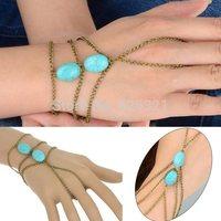1PC New Hot Punk Women Metal Hand Harness Chain Turquiose Beads Slave Finger Ring Fashion Chain Bracelet Drop Free