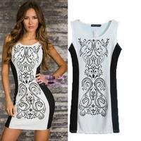 Summer new arrival 2014 fashion print vest one-piece dress female slim hip short  basic  dress women's for female NJS171