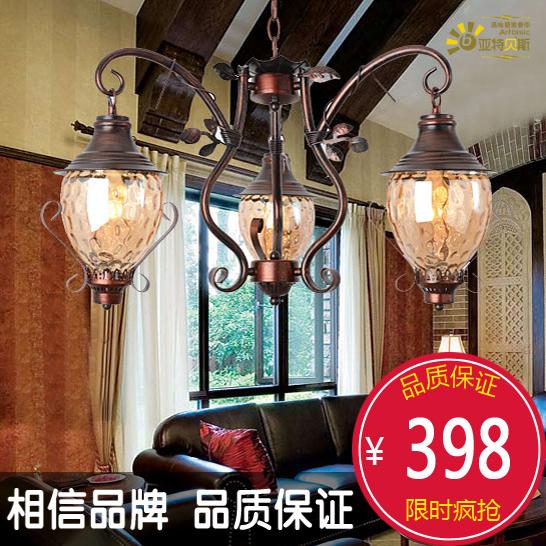 Stuart Bass American country wrought iron chandelier vintage red bronze chandelier restaurant 3 bedroom den lights(China (Mainland))