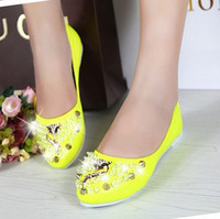 2014 NEW  Candy shoes flat heel point toe shoes casual loafers sweet four seasons shoes flower Flats women's shoes