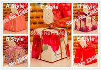 2014 New Design Gorgeous Flourishing Blossoms Wedding Candy Box Ribbon Card Wedding Festival Box Marriage Party Boxes 50pcs/lot