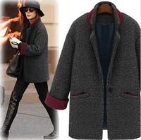 Women's  jackets coat women winter button fashion vintage fashion elegant wool coat medium-long outerwear