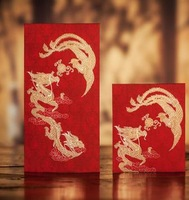 CHINA TRADITIONAL Wedding Favor Red Packet Money Envelope Gift bag Hot Stamping Dragon and Phoenix Pattern Free Shipping