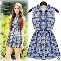 2014 New Summer Korean Style Casual Wild Cute Lady Denim Dress Thin Waist Sleeveless Dress Jean Mini Dress C-MK8899