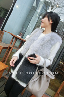 2014 Autumn/Winter New Arrival European American Style Fox & Rabbit Imitation fur Color-blocking  Outerwear Jacket