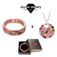 Joyme Brand fashion mulit-color bangle necklace jewelry set Mona Lisa cz set for women wedding jewelry set 2014
