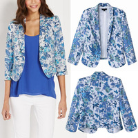 Trendy Women Elegant Vintage Ladies Floral Flower Birds Print None Button Slim Jacket Suits Coat Blazer Tops